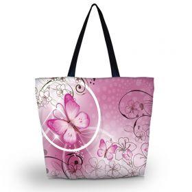 Nákupní a plážová taška Huado - Růžový motýl