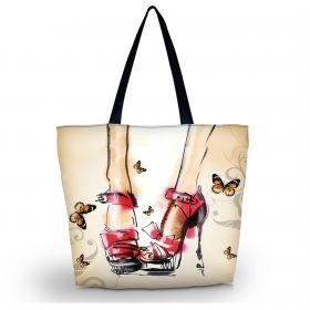 Nákupní a plážová taška Huado - Červené lodičky